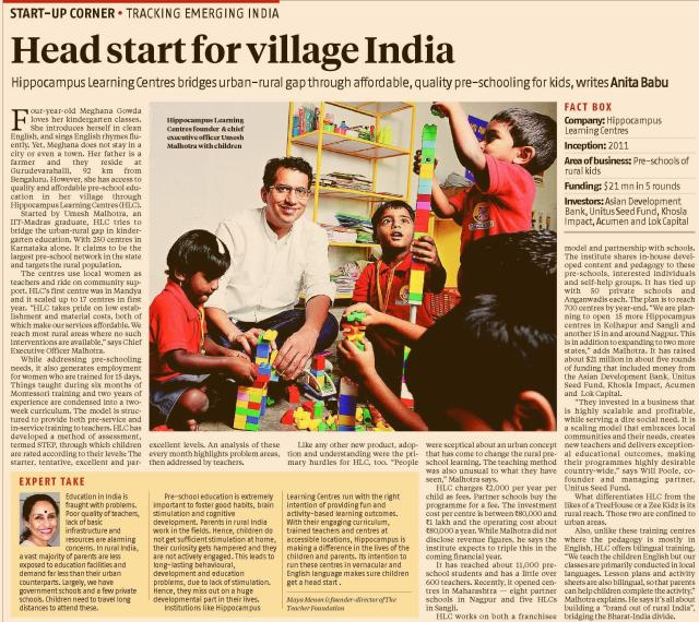 Head start for village India_Business Standard (Page 2)_8 February 2016.jpg