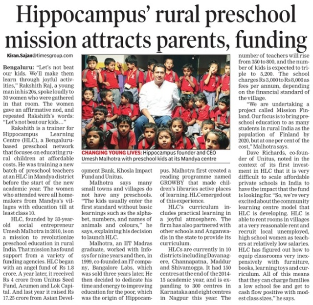 Hippocampus' rural preschool mission attracts parents, funding_The Times of India_17 June 2015_Pg 19