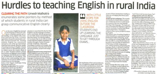 Hurdles to teaching English in rural India_Deccan Herald (Education)_1 Oct 2015_Page 20