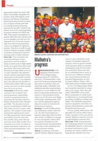 Malhotra's progress_Education World_November 2015_Page 74