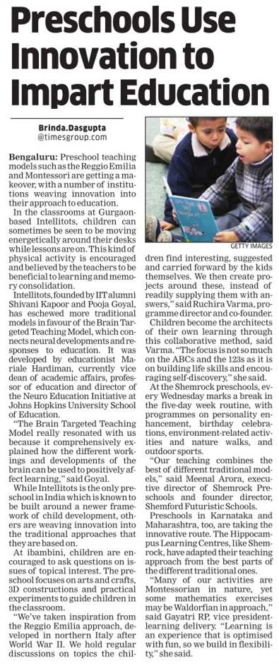 Preschools use innovation to impart education_The Economic Times_29 December 2015