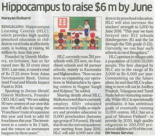 Hippocampus to raise $6 m by June_Deccan Herald_22 April 2016